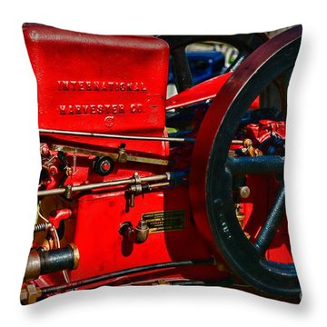 Farm Equipment - International Harvester Feed And Cob Mill Throw Pillow by Paul Ward