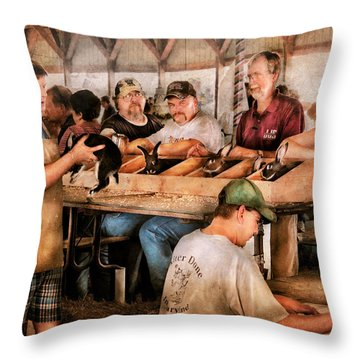 Farm - Farmer - By The Pound Throw Pillow by Mike Savad