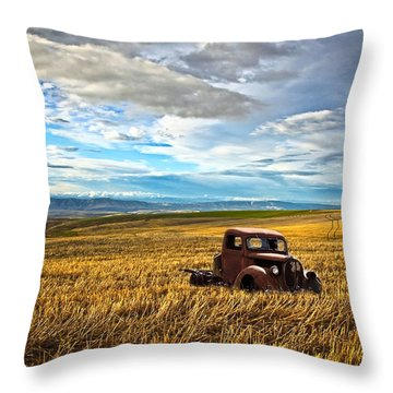 Farm Field Pickup Throw Pillow by Steve McKinzie