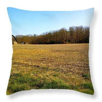 Farm Field With Old Barn Throw Pillow
