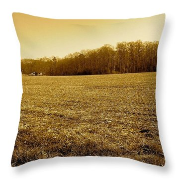 Farm Field With Old Barn In Sepia Throw Pillow by Amazing Photographs AKA Christian Wilson