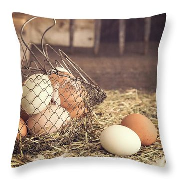Farm Fresh Eggs Throw Pillow by Edward Fielding