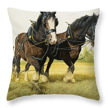 Farm Horses Throw Pillow