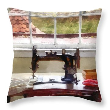 Farm House With Sewing Machine Throw Pillow