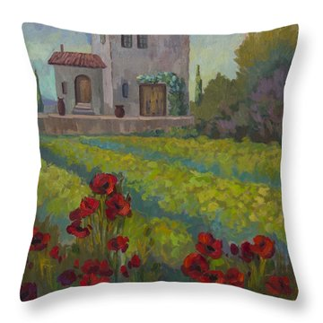 Farm In Sienna Throw Pillow by Diane McClary