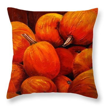 Farm Market Pumpkins Throw Pillow