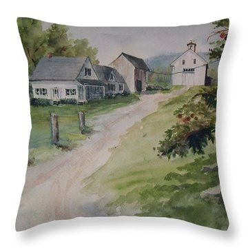 Throw Pillow featuring the painting Farm On Orchard Hill by Joy Nichols