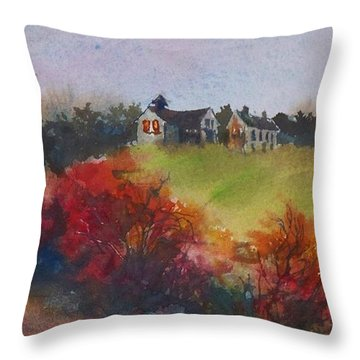 Farm On The Hill At Sunset Throw Pillow