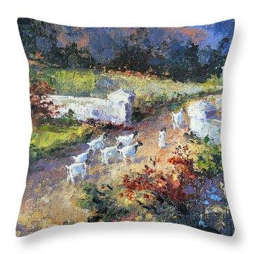 Farm Scene With Goats I Throw Pillow