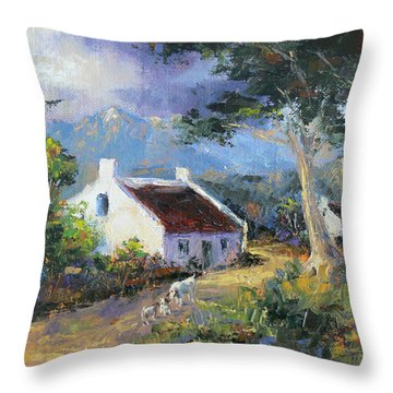 Farm Scene With Goats II Throw Pillow