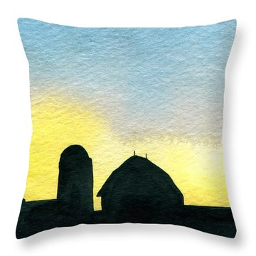 Farm Silhouette 1 Throw Pillow