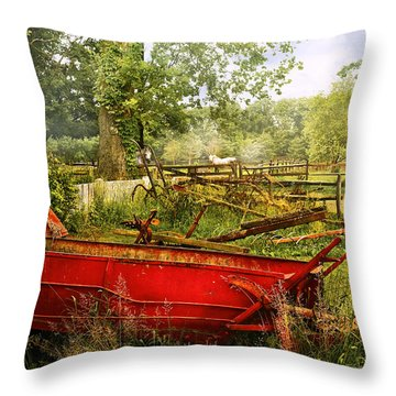 Farm - Tool - A Rusty Old Wagon Throw Pillow by Mike Savad
