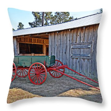 Throw Pillow featuring the photograph Farm Wagon by Linda Brown