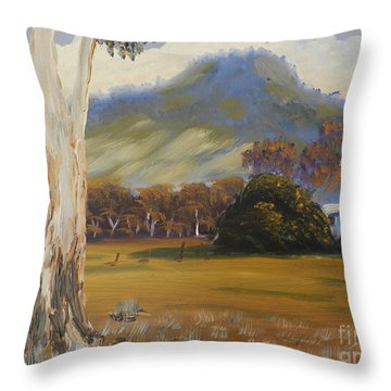 Farm With Large Gum Tree Throw Pillow