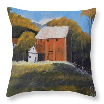 Throw Pillow featuring the painting Farm With Red Barn by Pamela  Meredith
