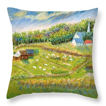 Farm With Sheep Throw Pillow by Patricia Eyre