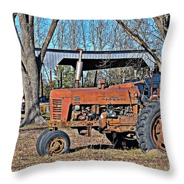 Throw Pillow featuring the photograph Farmall 400 by Linda Brown