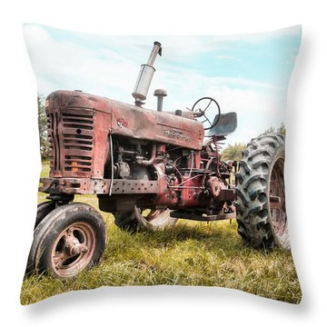 Farmall Tractor Dream - Farm Machinary - Industrial Decor Throw Pillow