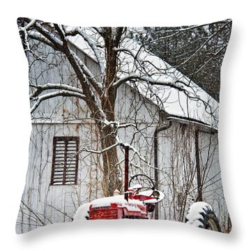 Farmall Tractor In Winter Throw Pillow by Timothy Flanigan