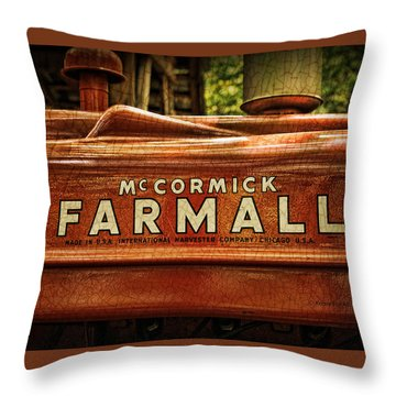 Farmall Tractor Throw Pillow by Kenny Francis