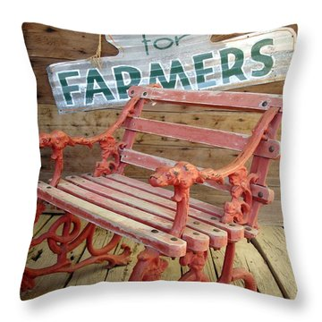 Farmer Bench Throw Pillow