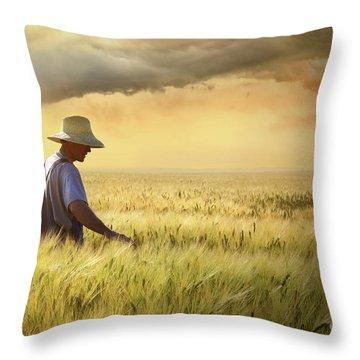Farmer Checking His Crop Of Wheat  Throw Pillow