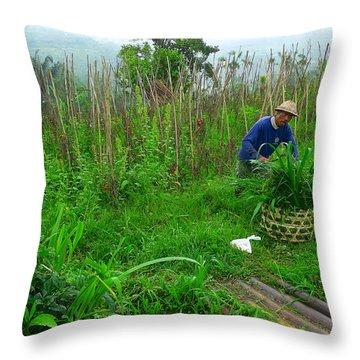 Farmer In Bali Throw Pillow