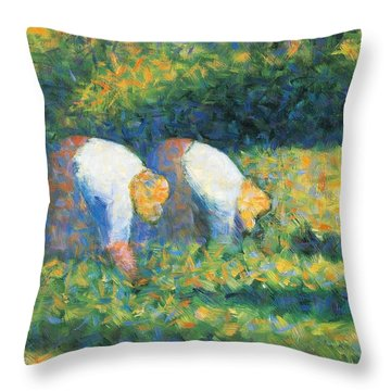 Farmers At Work Throw Pillow by Georges Seurat