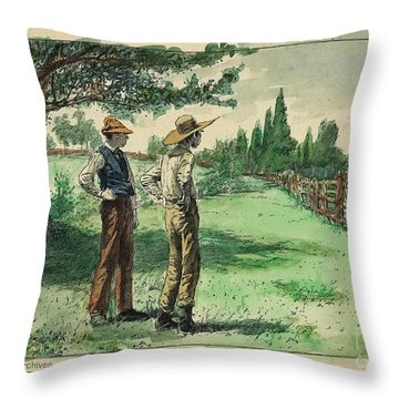 Farmers In Pasture With Trees 1885 Hand Tinted Etching  Throw Pillow