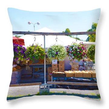 Farmers Market 2 Throw Pillow by Lanjee Chee