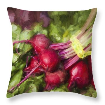 Farmers Market Beets Throw Pillow
