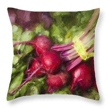 Farmers Market Beets Square Format Throw Pillow