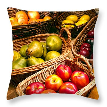 Farmer's Market Throw Pillow by Olivier Le Queinec
