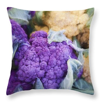 Farmers Market Purple Cauliflower Square Throw Pillow by Carol Leigh