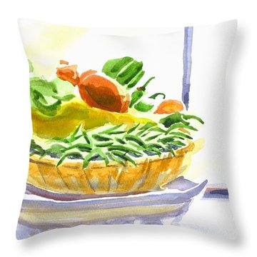 Farmers Market V Summers Harvest In The Window Throw Pillow by Kip DeVore
