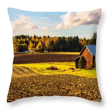 Farmer's Sunny Autumn Day Throw Pillow