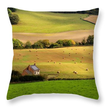 Farmhouse In English Field Throw Pillow