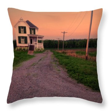 Farmhouse On Gravel Road Throw Pillow by Jill Battaglia