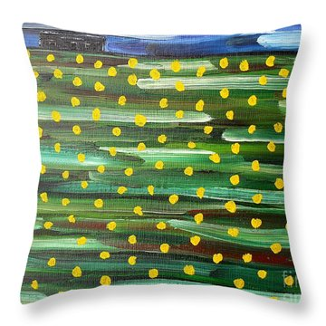 Farmhouse On The Hill Throw Pillow by Patrick J Murphy