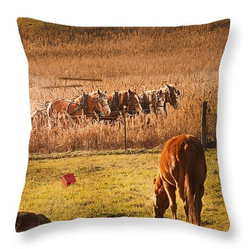 Farming  Modes Of Transportation Throw Pillow by Randall Branham