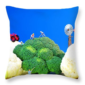 Farming On Broccoli And Cauliflower Throw Pillow by Paul Ge