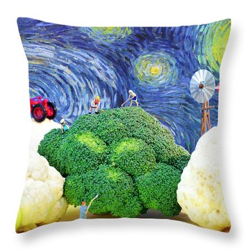Farming On Broccoli And Cauliflower Under Starry Night Throw Pillow by Paul Ge