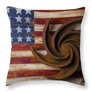 Farming Tool On American Flag Throw Pillow by Garry Gay