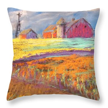 Farmland Sunset Throw Pillow
