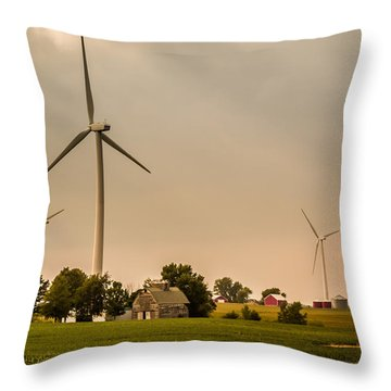 Farms And Windmills Throw Pillow