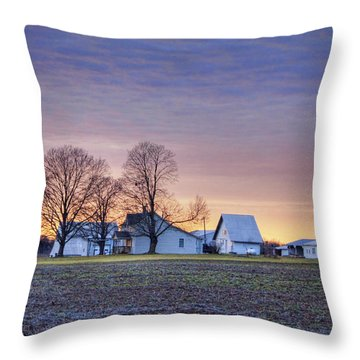 Farmstead At Sunset Throw Pillow