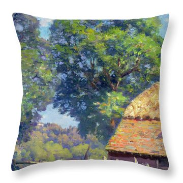 Farmyard With Poultry Throw Pillow by Gabriel Edouard Thurner