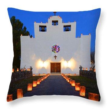 Farolitos Saint Francis De Paula Mission Throw Pillow by Bob Christopher