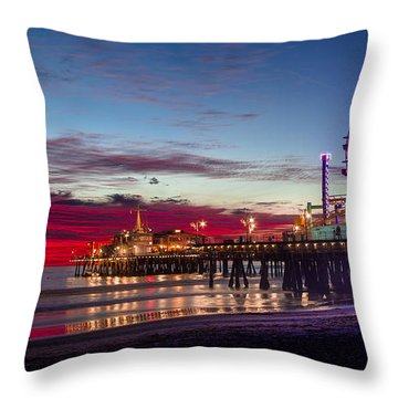 Ferris Wheel On The Santa Monica California Pier At Sunset Fine Art Photography Print Throw Pillow by Jerry Cowart