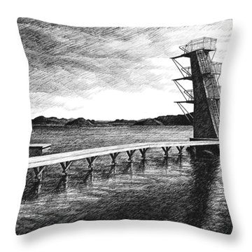 Throw Pillow featuring the drawing Farsund Badehuset In Ink by Janet King